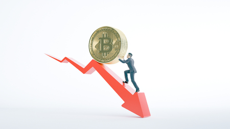 Bitcoin arrow up for increasing value and businessman. Gains and success in crypto bitcoin investments. Financial upswing concept. Banco de Imagens