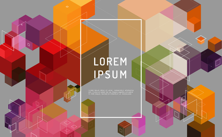 Modern composition with multi-colored cube.