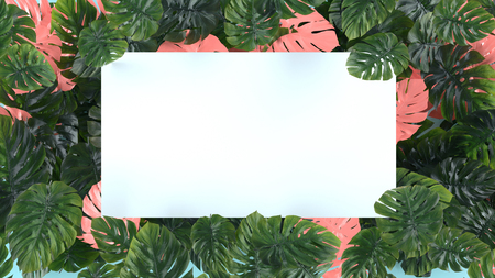 Tropical leaves Monstera on pink background. Template layout, minimal fashion summer concept art . Banco de Imagens