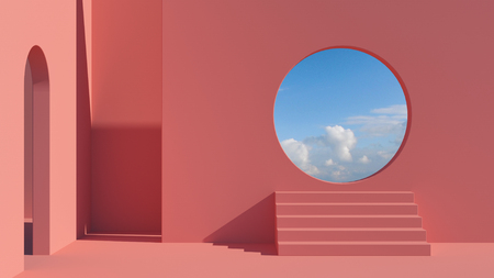 Arch and stairs in trendy minimal interior. 3d render illustration in modern geometric style. Coral pastel colors background for banners for product presentation. Abstract composition. Фото со стока
