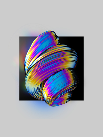 Colorful twisted abstract element on black background. Layout design template 3D rendering Фото со стока