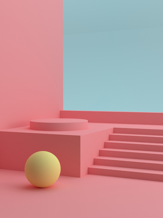 Podium in abstract pink composition, template for your product. Modern cover design. 3d rendering. Banco de Imagens