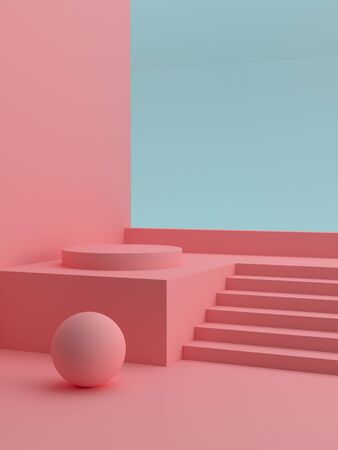 Podium in abstract pink composition, template for your product. Modern cover design. 3d rendering. Фото со стока