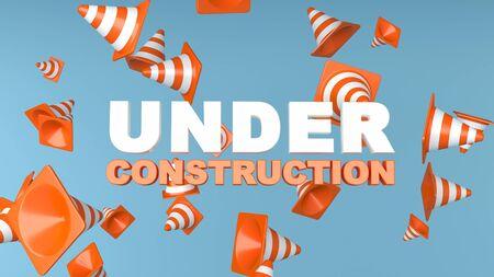 Under construction concept background, 3d rendering