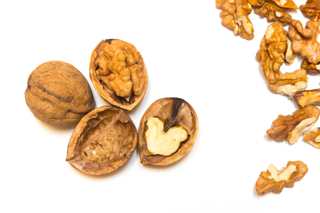 Walnuts on a white background Imagens