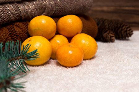 next year: Christmas and New Year Mandarins in the snow next to the multi-colored sweaters, pine cones and Christmas tree branch