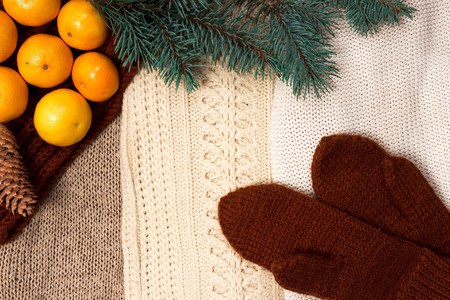 next year: Christmas and New Year Mandarins next to the colorful knitted sweaters, cones, branches of the Christmas tree and knit gloves on a wooden background