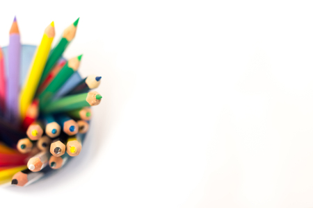 colored school: colored pencils on a white background Stock Photo