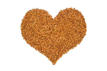 Heart made from groats. Health food. Concept love