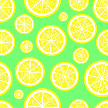 スライス レモンの緑の背景とのシームレスなパターン。果実は酸味が。ベクトルの図。