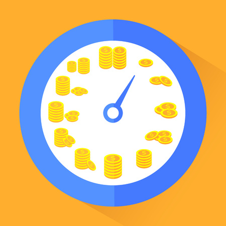 Time is money. Abstract vector illustration in flat style on orange background. Ilustrace