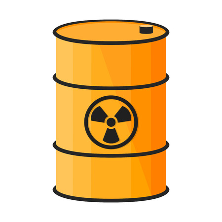 radium: Barrel with dangerous substance. Radioactive sign. Vector illustration on white background.