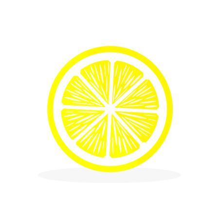 白い背景にスライスレモンのアイコン。酸っぱい果実。ベクターイラスト。  イラスト・ベクター素材