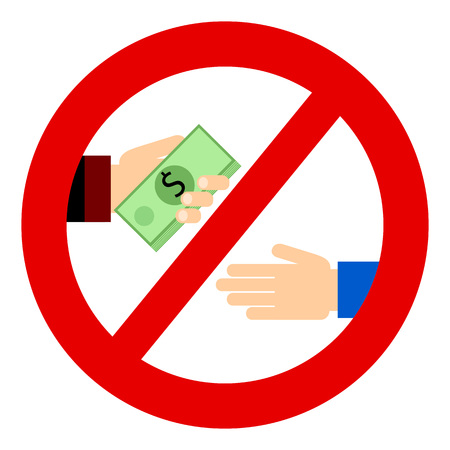 boodle: Corruption. Businessman gives a bribe. Corrupt practices. Vector illustration. Red prohibition sign