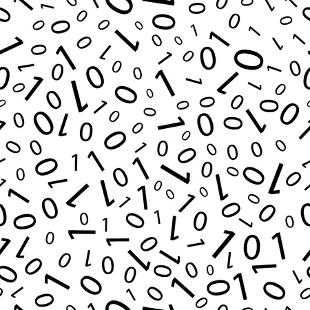 numbers: Black and white seamless pattern with binary code. Matrix backdrop. Vector texture.