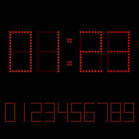 Digitaluhr. Rote Zahlen auf dunklem Hintergrund für Uhr oder Anzeigetafel. Vektor-Illustration. Vektorgrafik