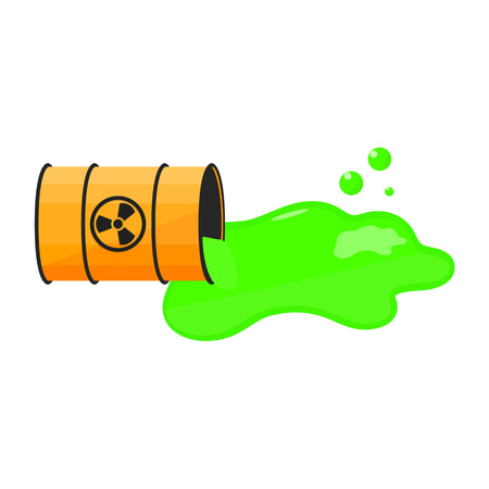 Barrel with spilled liquid. Radioactive sign. Green slime. Waste. Vector illustration Illustration