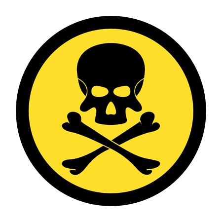 Skull and bones. Black danger sign on yellow circle. Vector illustration.