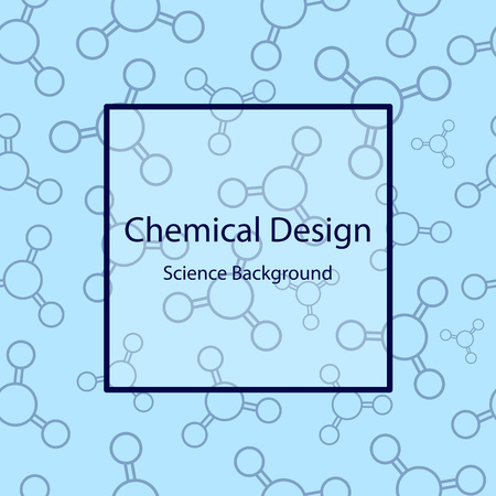 stinks: Science seamless pattern with molecules. Chemical design. Vector illustration on blue background. Illustration