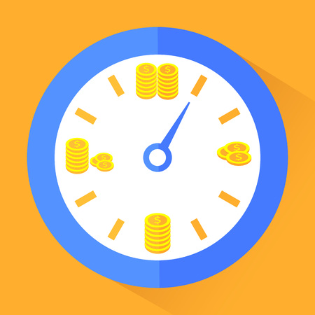 Time is money. Gold coins in clock. Superannuation. Vector illustration