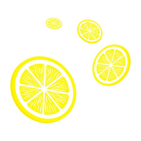 白い背景の上にレモンをスライスします。黄色いレモン アイコン。ベクトルの図。