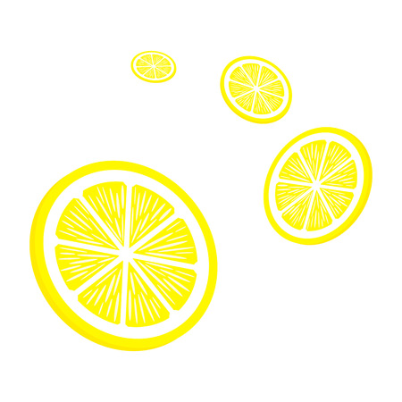 Slices lemon on white background. Yellow lemon icons. Vector illustration.