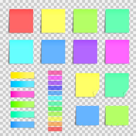 Grote verzameling stickers. Kleurrijke notitieblaadjes. Vectorillustratie op transparante achtergrond. Stock Illustratie