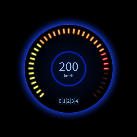 Blue car speed gauge. High speed. Technology concept