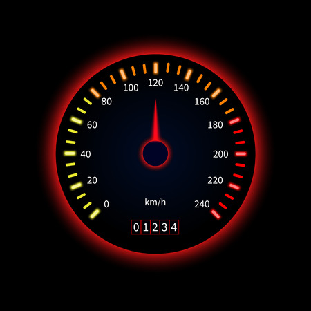 Red car speedometer. Technology concept. Vector illustration on black background.
