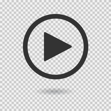 Przycisk Play z cieniem na przezroczystym tle. Izolowane podpisania dla sieci web. Ikony wektorowe.