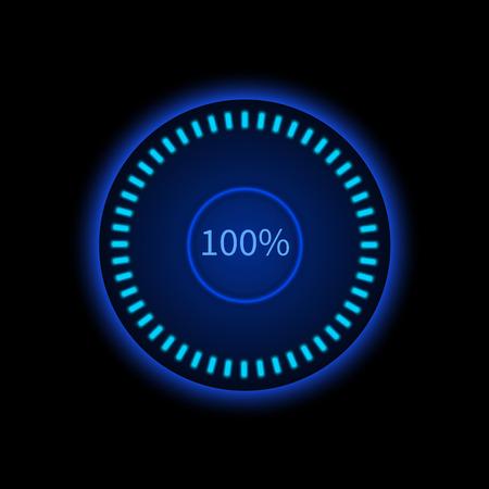 bright: Blue round progress circle. Download sign. Load system. Vector illustration on dark background.