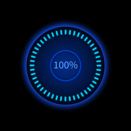 Blue round progress circle. Download sign. Load system. Vector illustration on dark background.