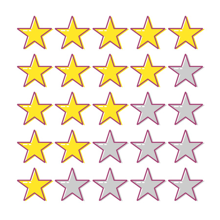 5 star rating. Collection of cartoon vector icons. Yellow stars for app, web or game. Feedback concept. Ranking system. Vector illustration on white background.