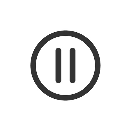 multimedia icons: Pause icon on white background. Vector simple button for web or app.