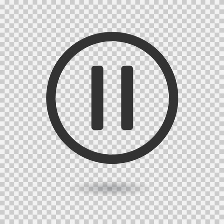 multimedia icons: Pause icon with shadow. Vector button for web or app. Button for audio or video. Illustration on transparent background.