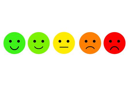 Satz von Emoji. Vektor Icon von Emoticons. Klasse. Bewertung für das Web oder die App Flache bunte Ikone. Kundenbewertung. Vektor-Illustration auf weißem Hintergrund.