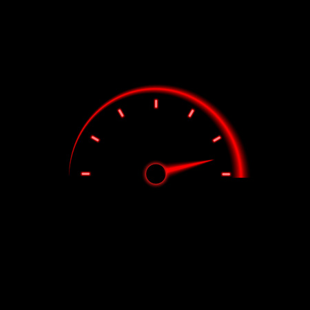 Speedometer sign. Red icon. Vector illustration on black background.