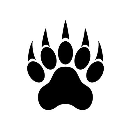 Cópia animal da pata com garras. Pata de tigre. Pegada. Ilustração vetorial, isolada no fundo branco. Foto de archivo - 93724883