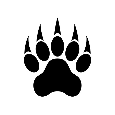 Animal paw print with claws. Tiger paw. Footprint. Vector illustration isolated on white background.