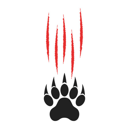 Animal paw print with claws and red cuts. Tiger paw. Vector illustration isolated on white background. Illustration