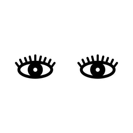 Eyelashes. Open eye. Icon for web. Vector illustration isolated on white background.