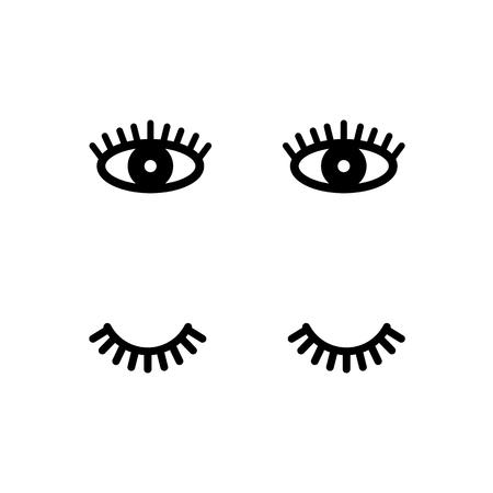 Eyelashes. Open and close eyes. Cute lashes. Vector illustration isolated on white background.