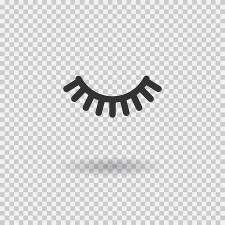 Vector eyelash. Lash icon. Close eye with shadow. Vector illustration isolated on transparent background.