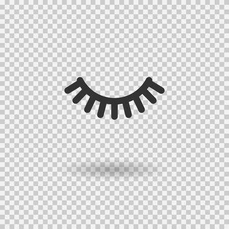 Vector eyelash. Lash icon. Close eye with shadow. Vector illustration isolated on transparent background.