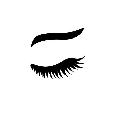 Vector eyelash with eyebrow. Lash icon. Close eye. Vector illustration isolated on white background.