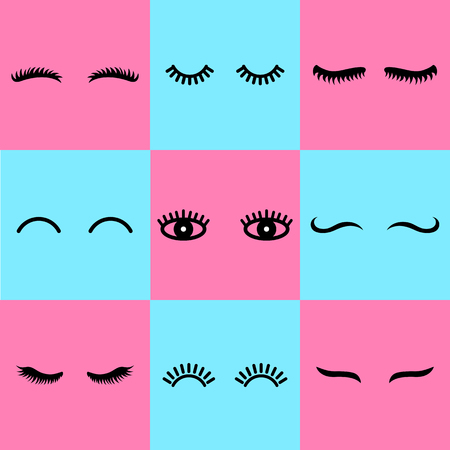 Vector eyelashes. Cute lashes in cartoon style. Close eyes. Icons for web isolated on background.