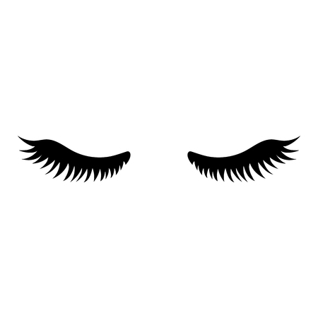 Eyelash. Close eyes. Cute eyelashes. Icon for web. Vector illustration isolated on white background.