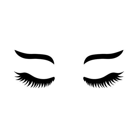Vector eyelashes with eyebrows. Lashes icon. Close eyes. Vector illustration isolated on white background. Ilustração