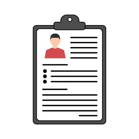 Summary concept. Vector resume icon. Recruitment. Document with information about a person. Flat design. Illustration on white background.