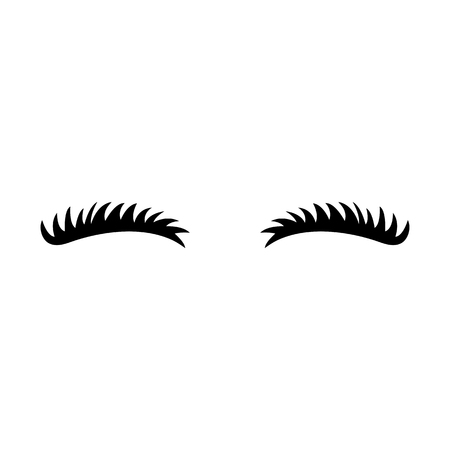 Eyelashes icon. Close eyes. Cute lashes. Vector eyebrows. Illustration isolated on white background.